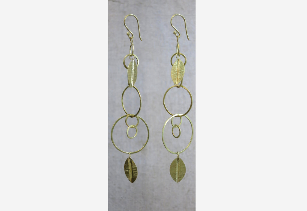 Circle and Leaf Earrings