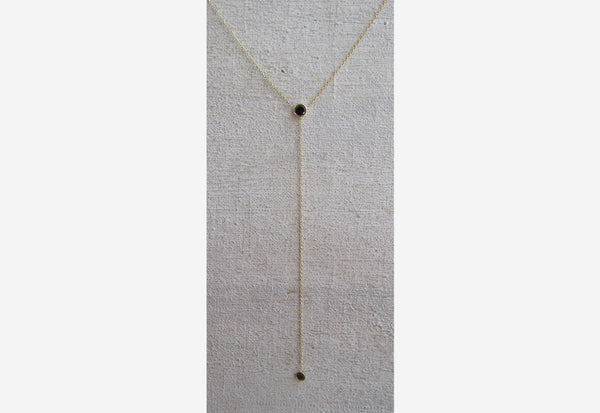 Double Black Diamond Drop Necklace