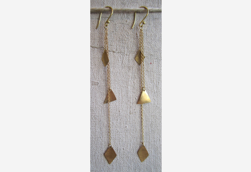 Double Diamond and Pyramid Shape Drop Earrings