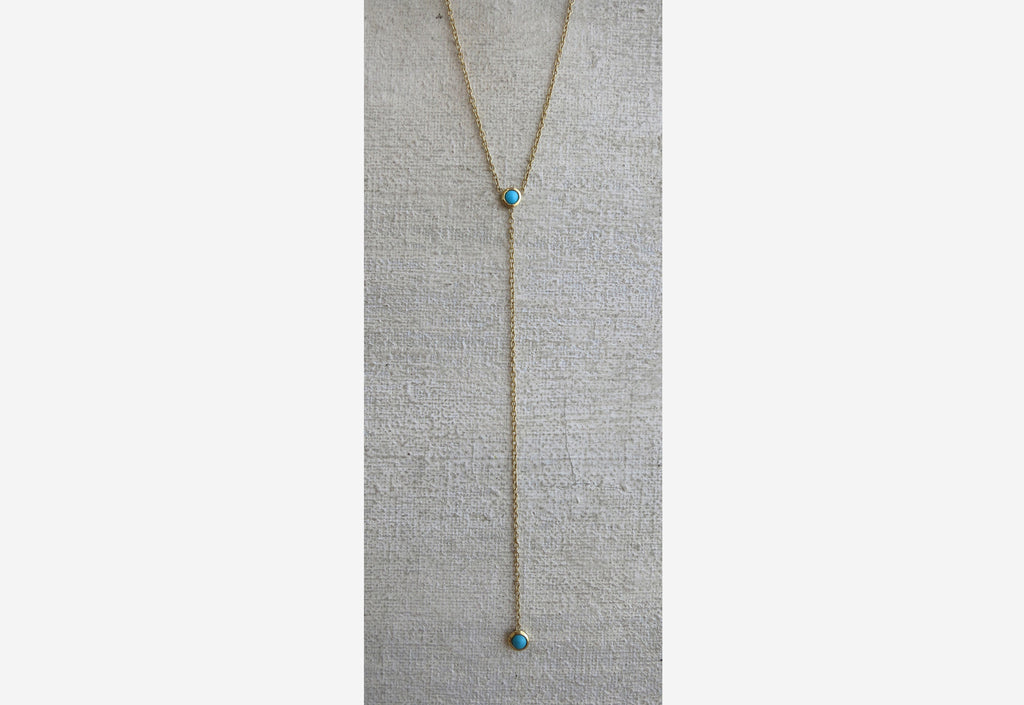 Double Turquoise Drop Necklace