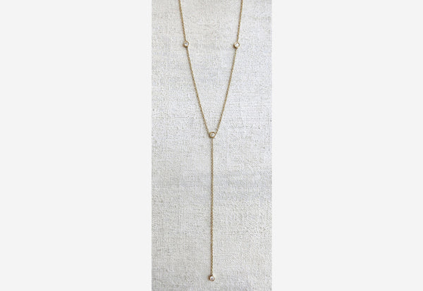 Four Diamond Drop Necklace