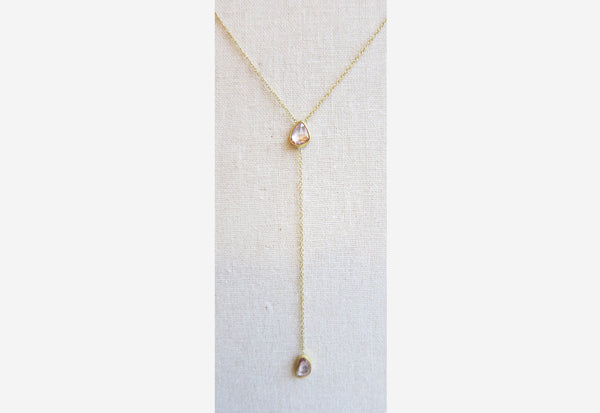 Rose Cut Sapphire Drop Necklace