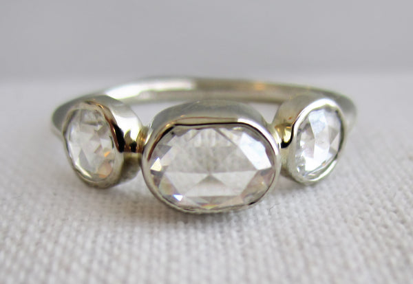Oval Rose Cut and Round Rose Cut Diamond Bezel Ring