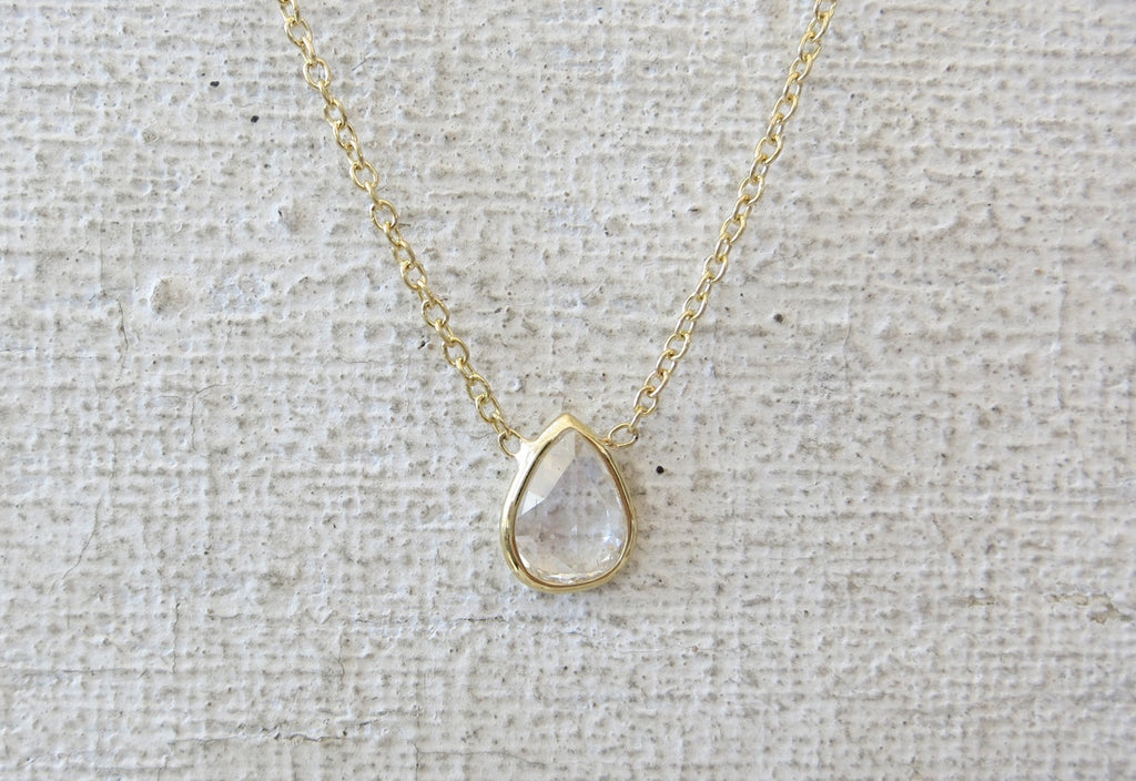 Rose Cut Diamond Necklace | Pear Shape