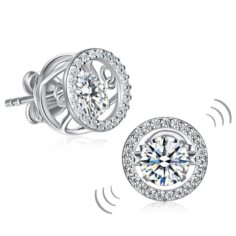 Classic Dancing Stone Stud Earrings Solid 925 Sterling Silver Simulated Diamond