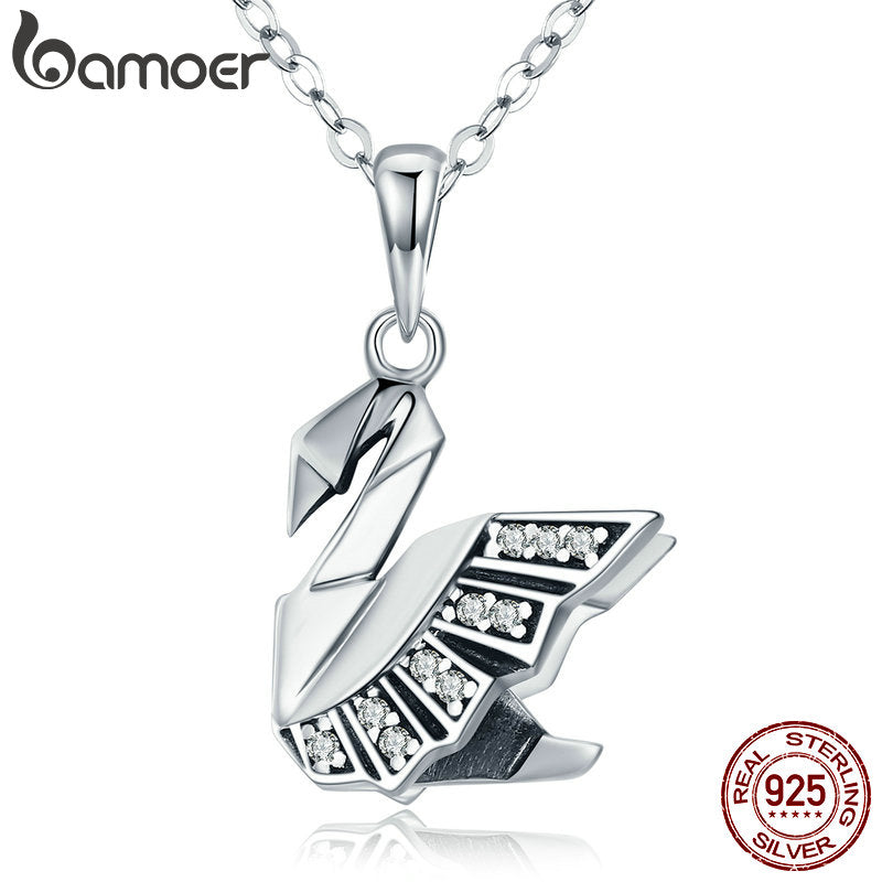 BAMOER New Collection 100% 925 Sterling Silver Paper Swan Shape Pendant Necklaces for Women Sterling Silver Jewelry Gift SCN219