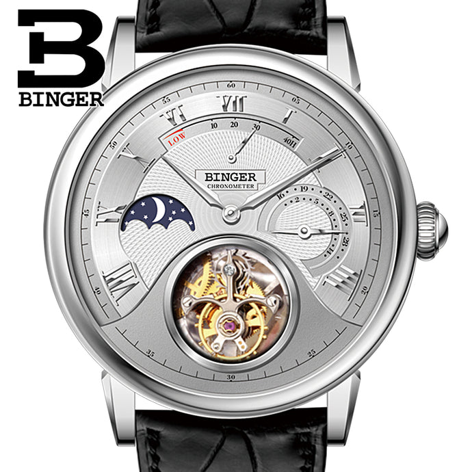Switzerland BINGER Watches Men Luxury Seagull Automatic Movemt Watch Male Tourbillon Sapphire Alligator Hide Mechanical B80801-1