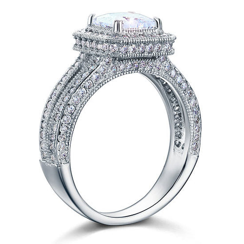 Vintage Style 1.5 Carat Simulated Diamond 925 Sterling Silver Bridal Wedding Engagement Ring