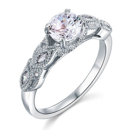 Vintage Style 1 Ct Simulated Diamond 925 Sterling Silver Bridal Wedding Engagement Ring