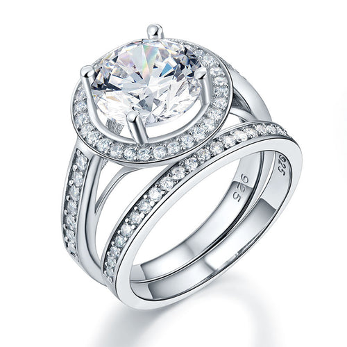 Luxury 925 Sterling Silver Promise Engagement Ring Set 3.5 Ct Vintage Simulated Diamond