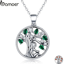BAMOER Popular 925 Sterling Silver Rely Tree of Life Pendant Necklaces Clear Green CZ Women Fashion Jewelry Brincos Gift SCN094