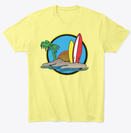 Palm Trees T-Shirt with Surfboards and Rising Sun