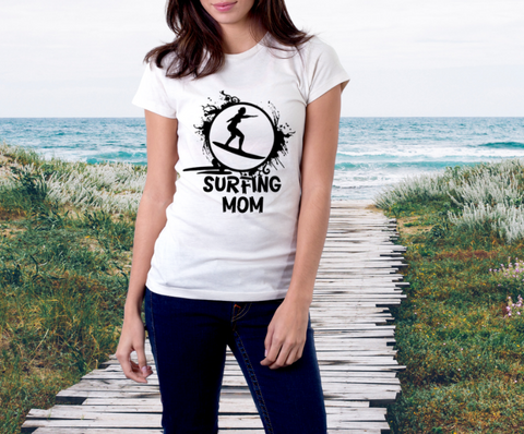 Woman's Relaxed Fit Tee Shirt (Surfing Mom)