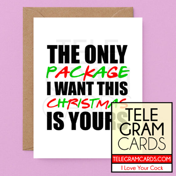 Text [ILYC-013-XMS] The Only Package I Want For Christmas Is Yours - SocialShambles.com