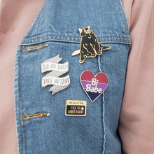 Load image into Gallery viewer, Hello I'm- Fuck the Gender Binary Enamel Pin