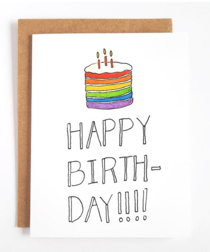 Happy Birthday Rainbow Cake Greeting Card