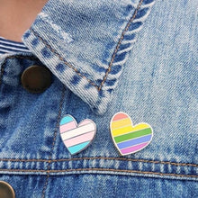 Load image into Gallery viewer, Heart Pins (Rainbow, Trans Pride & Bi Pride)