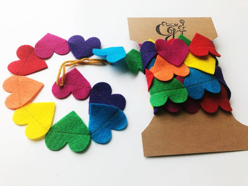 Rainbow Hearts Felt Garland