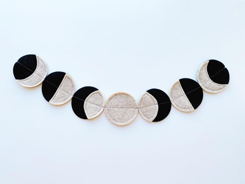 Phases of the Moon Felt Garland