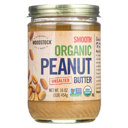 Woodstock Organic Peanut Butter - Smooth - Unsalted - Case of 12 - 16 oz.