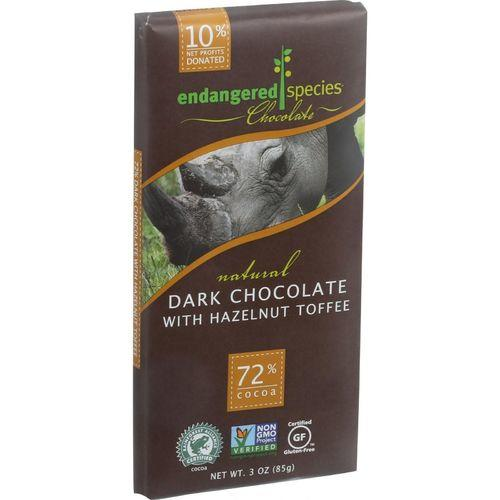 Endangered Species Natural Chocolate Bars - Dark Chocolate - 72 Percent Cocoa - Hazelnut Toffee - 3 oz Bars - Case of 12