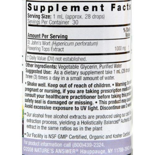 Nature's Answer St John's Wort Young Flowering Tops Alcohol Free - 1 fl oz