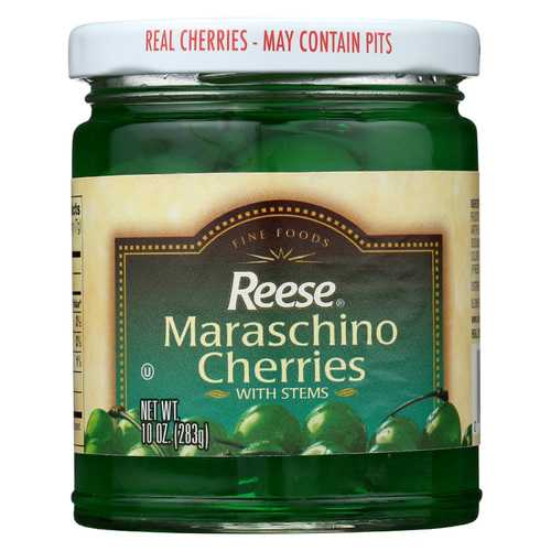 Reese Cherry - Maraschino - Green with Stems - Case of 12 - 10 oz