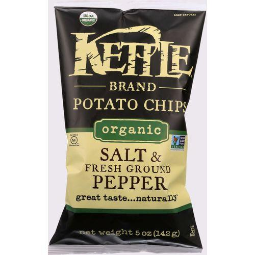 Kettle Brand Potato Chips - Organic - Salt and Fresh Ground Pepper - 5 oz - case of 15