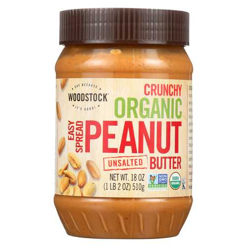 Woodstock Organic Easy Spread Peanut Butter - Crunchy - Unsalted - Case of 12 - 18 oz