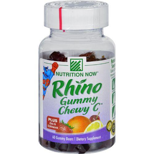 Nutrition Now Rhino Gummy Chewy C Strawberry Orange Lemon and Cherry - 60 Gummy Bears