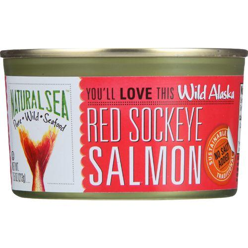 Natural Sea Wild Sockeye Salmon - Unsalted - Case of 24 - - 7.5 oz.