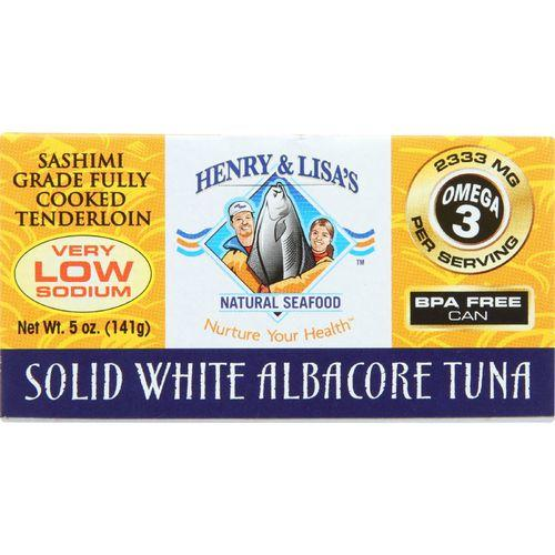 Henry and Lisa Natural Seafood Tuna - Solid White Albacore - No Salt Added - 5 oz - case of 12