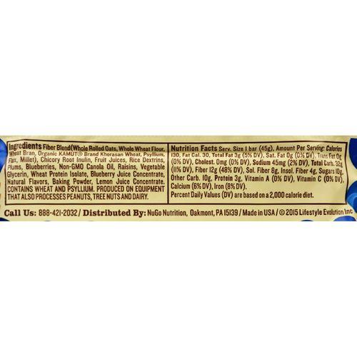 NuGo Nutrition Bar - Fiber dLish - Blueberry Cobbler - 1.6 oz Bars - Case of 16