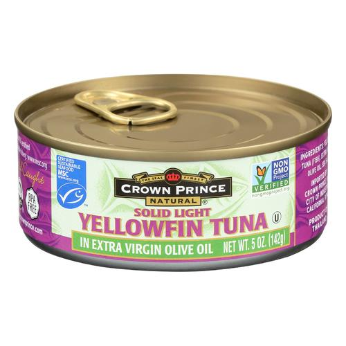 Crown Prince Yellowfin Tuna In Extra Virgin Olive Oil - Solid Light - Case of 12 - 5 oz.