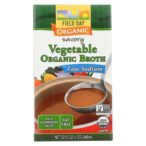 Field Day Organic Low Sodium Vegetable Broth - Case of 12 - 32 fl oz