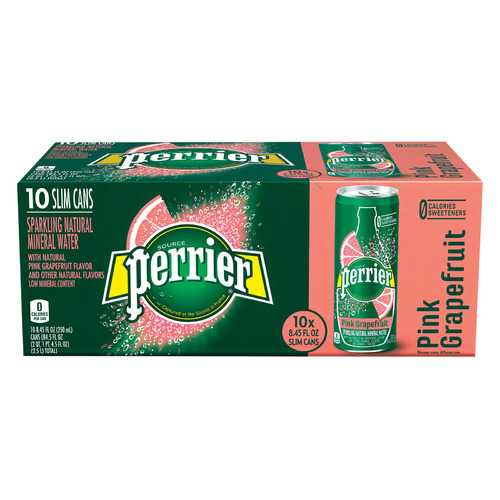 Perrier Sparkling Natural Mineral Water - Pink Grapefruit - Case of 3 - 250 ml
