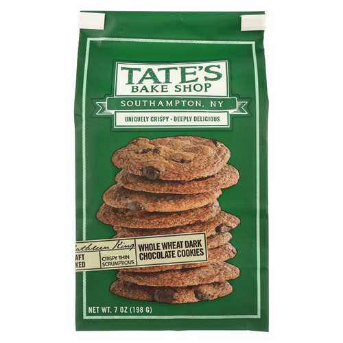 Tate's Bake Shop Whole Wheat Dark Chocolate Cookies - Case of 12 - 7 oz.