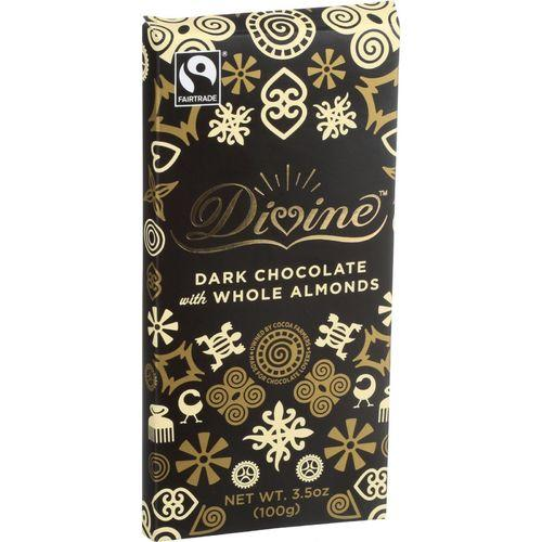 Divine Chocolate Bar - Dark Chocolate - Whole Almonds - 3.5 oz Bars - Case of 10