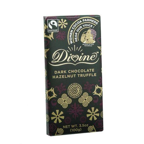 Divine Chocolate Bar - Dark Chocolate - Hazelnut Truffle - 3.5 oz Bars - Case of 10