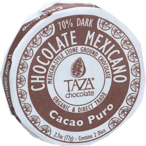 Taza Chocolate Organic Chocolate Mexicano Discs - 100 Percent Dark Chocolate - Cacao Puro - 2.7 oz - Case of 12