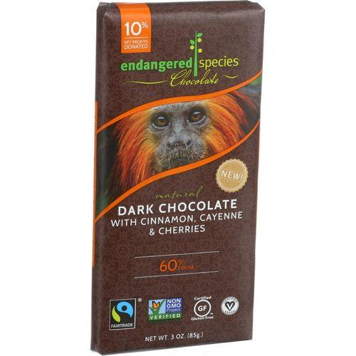 Endangered Species Natural Chocolate Bars - Dark Chocolate - 60 Percent Cocoa - Cinnamon Cayenne and Cherries - 3 oz Bars - Case of 12