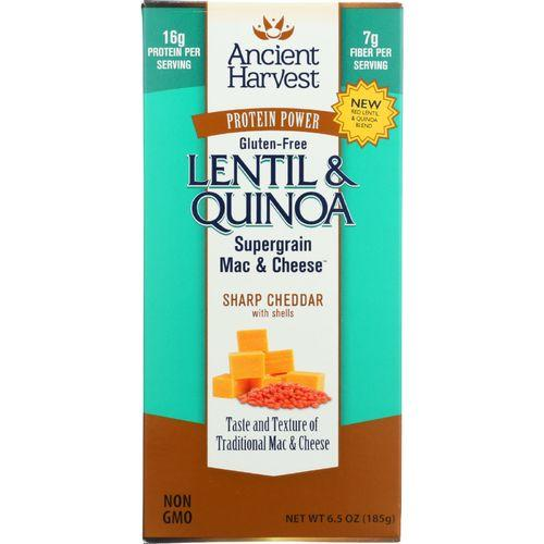 Ancient Harvest Mac and Cheese - Supergrain - Lentil and Quinoa - Sharp Cheddar with Shells - Gluten Free - 6.5 oz - case of 6