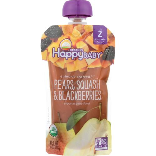 Happy Baby Happy Baby Clearly Crafted - Pears, Squash and Blackberries - Case of 16 - 4 oz.