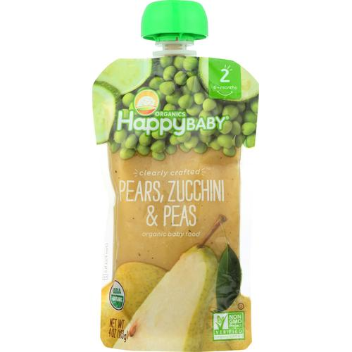 Happy Baby Happy Baby Clearly Crafted - Pears, Zucchini and Peas - Case of 16 - 4 oz.
