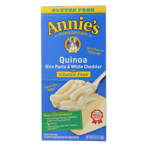 Annie's Homegrown Gluten Free Quinoa Rice Pasta and White Cheddar - Case of 12 - 6 oz.