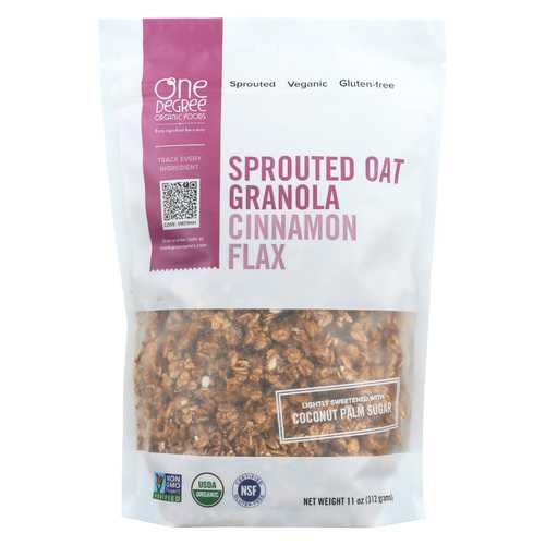 One Degree Organic Foods Cinnamon Flax Granola - Sprouted Oat - Case of 6 - 11 oz.
