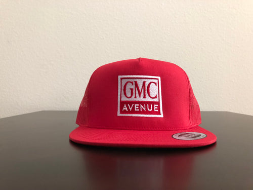 GMC AVE LOGO ALL RED HAT WHITE STITCHING