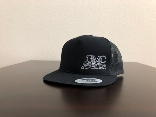 GMC AVE OFFSET LOGO ALL BLACK HAT WHITE STITCHING