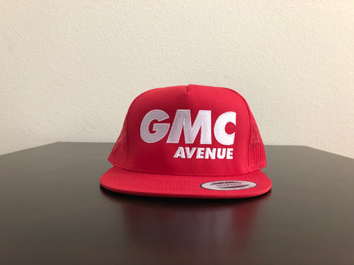GMC AVE FAST LOGO ALL RED HAT WHITE STITCHING