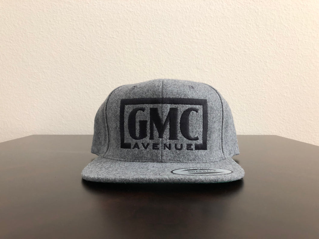 GMC AVE STAMP LOGO HEATHER GRAY HAT BLACK STITCHING